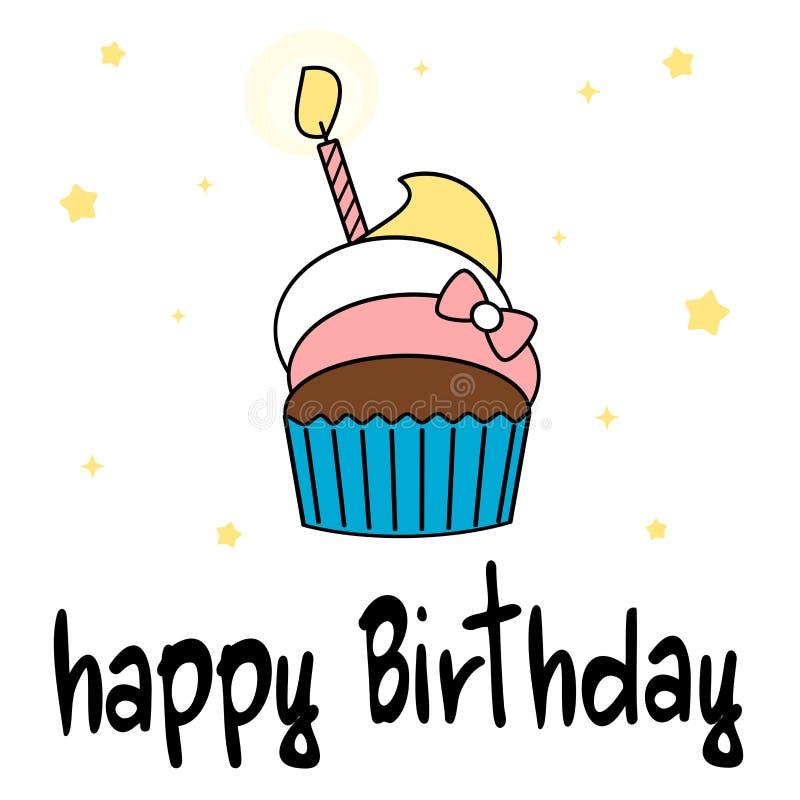 Carte tirée par la main de joyeux anniversaire de lettrage avec l'illustration colorée de petit gâteau de bande dessinée mignonne illustration stock