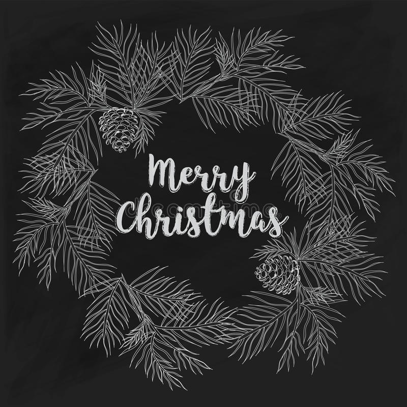 Carte tirée par la main de Joyeux Noël sur le tableau illustration stock
