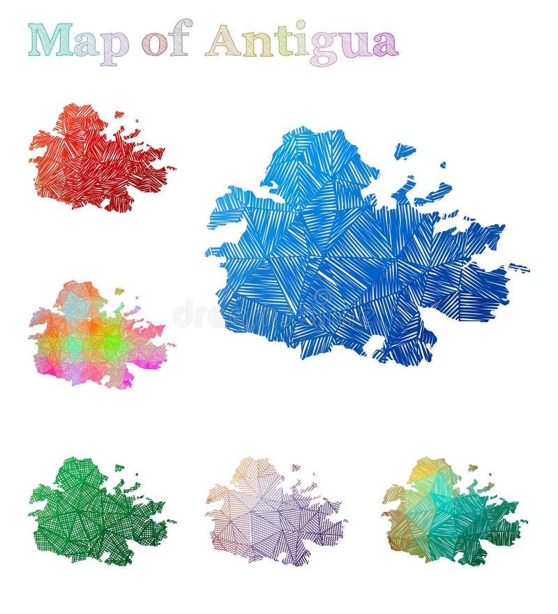 Carte tirée par la main de l'Antigua illustration de vecteur