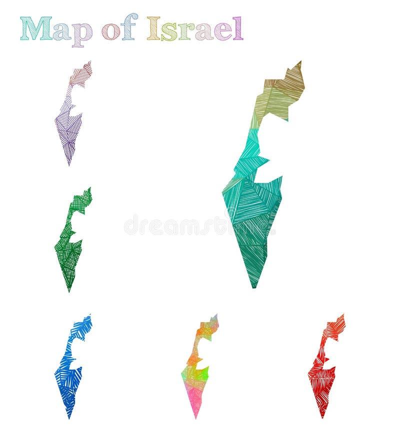 Carte tirée par la main de l'Israël illustration de vecteur
