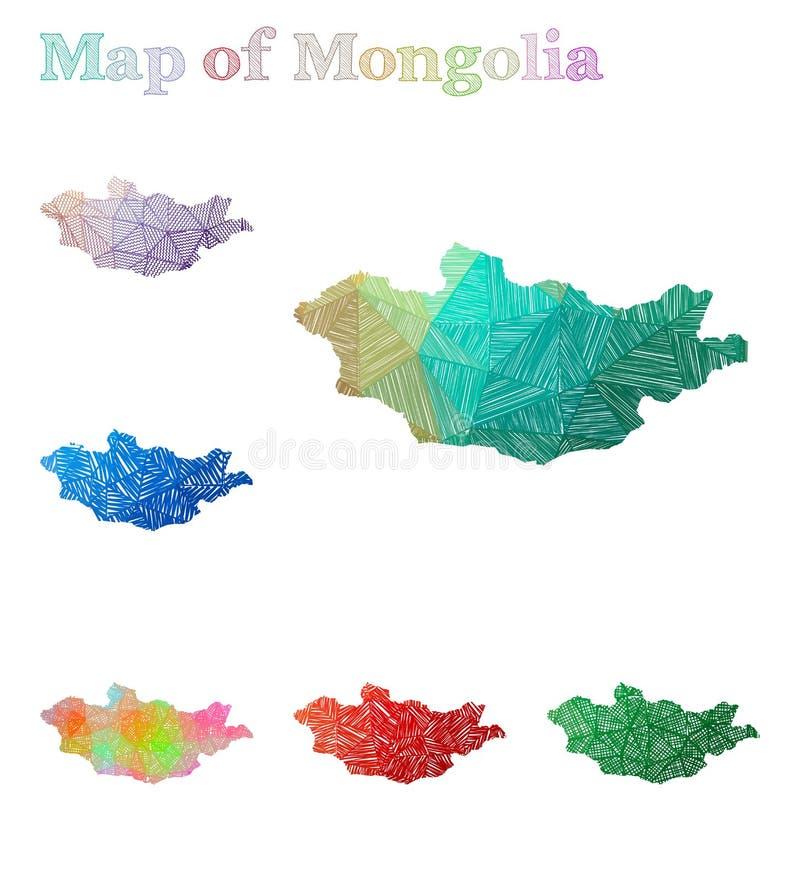 Carte tirée par la main de la Mongolie illustration stock