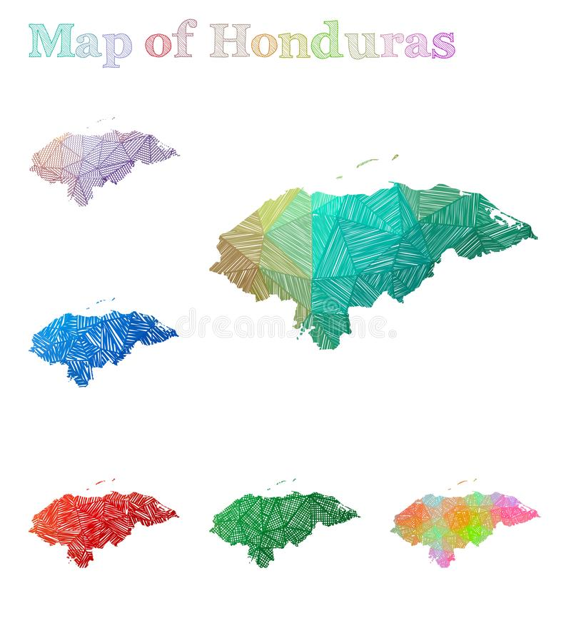 Carte tirée par la main du Honduras illustration libre de droits