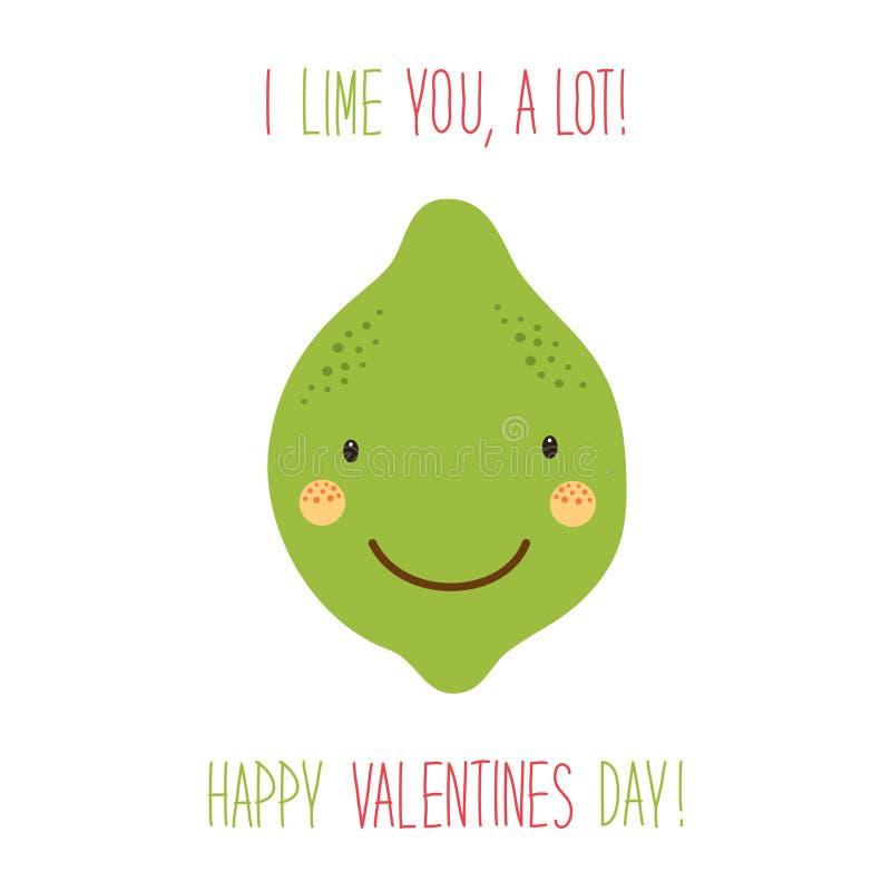 Carte tirée par la main peu commune mignonne de jour de valentines avec les personnages de dessin animé drôles de la chaux illustration stock