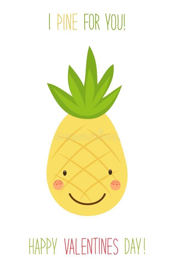 Carte tirée par la main peu commune mignonne de jour de valentines avec les personnages de dessin animé drôles de l'ananas illustration stock