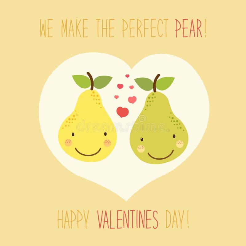 Carte tirée par la main peu commune mignonne de jour de valentines avec les personnages de dessin animé drôles de la poire illustration libre de droits