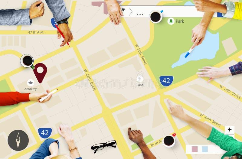 Carte traçant le concept de navigation de directive d'emplacement photo libre de droits