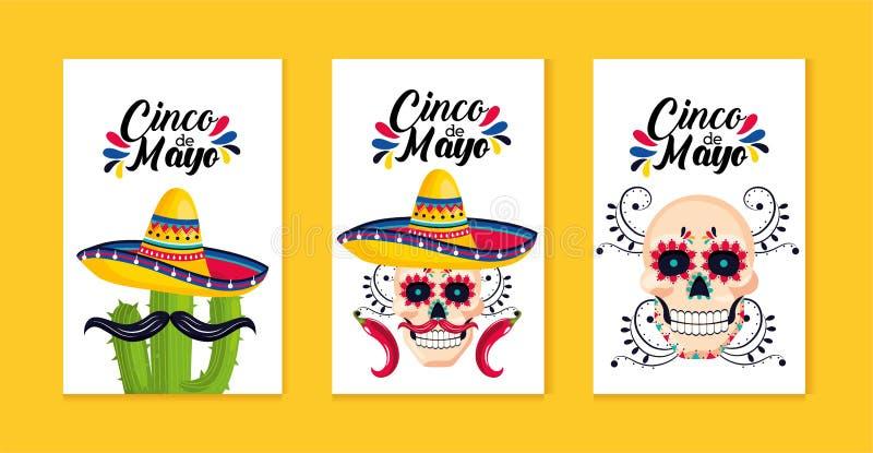 Carte tradizionali messicane messe alla celebrazione di evento illustrazione di stock