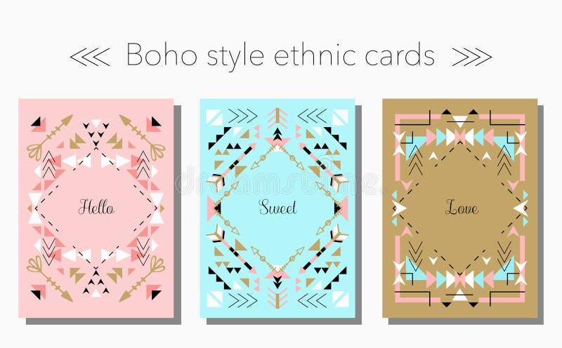 Carte tribali e strutture etniche di stile di Boho messe Illustrazione di vettore illustrazione di stock