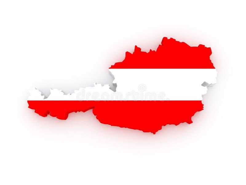 Carte tridimensionnelle de l'Autriche. illustration de vecteur