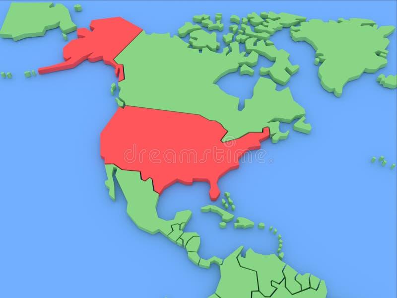 Carte tridimensionnelle des Etats-Unis d'isolement. 3d illustration libre de droits