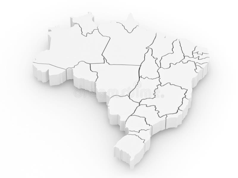 Carte tridimensionnelle du Brésil. 3d illustration stock
