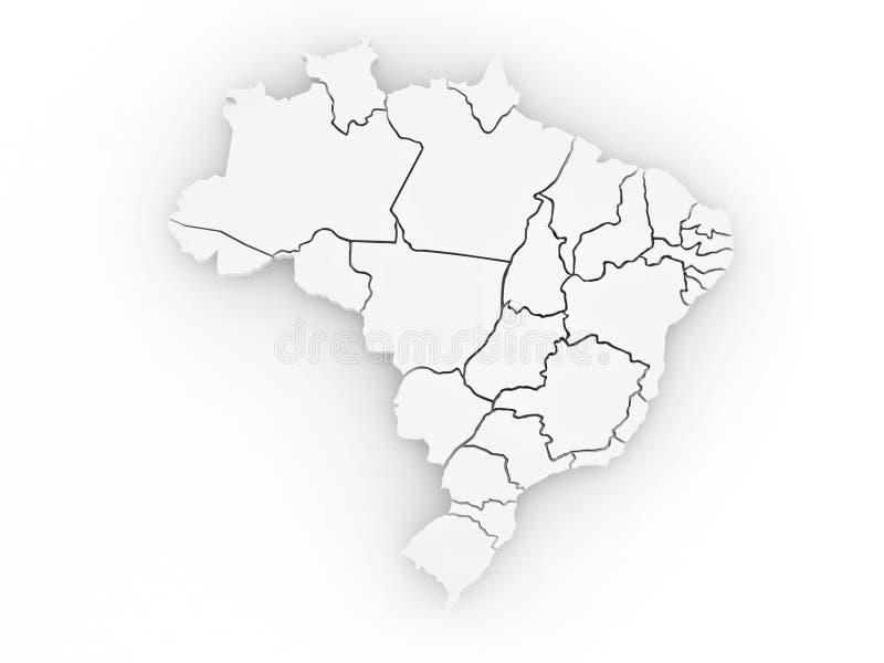 Carte tridimensionnelle du Brésil. 3d illustration de vecteur