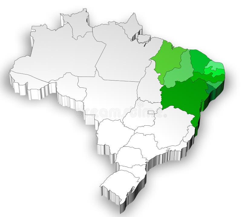 Carte tridimensionnelle du Brésil avec la région du nord illustration stock