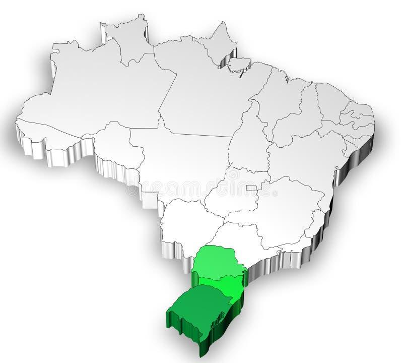Carte tridimensionnelle du Brésil avec la région du sud illustration stock