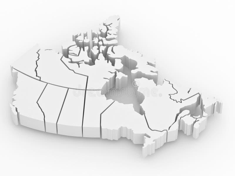 Carte tridimensionnelle du Canada. 3d illustration stock
