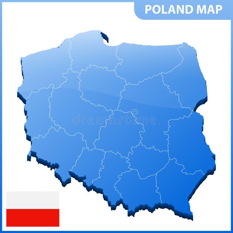 Carte tridimensionnelle fortement détaillée de la Pologne avec la frontière de régions illustration de vecteur
