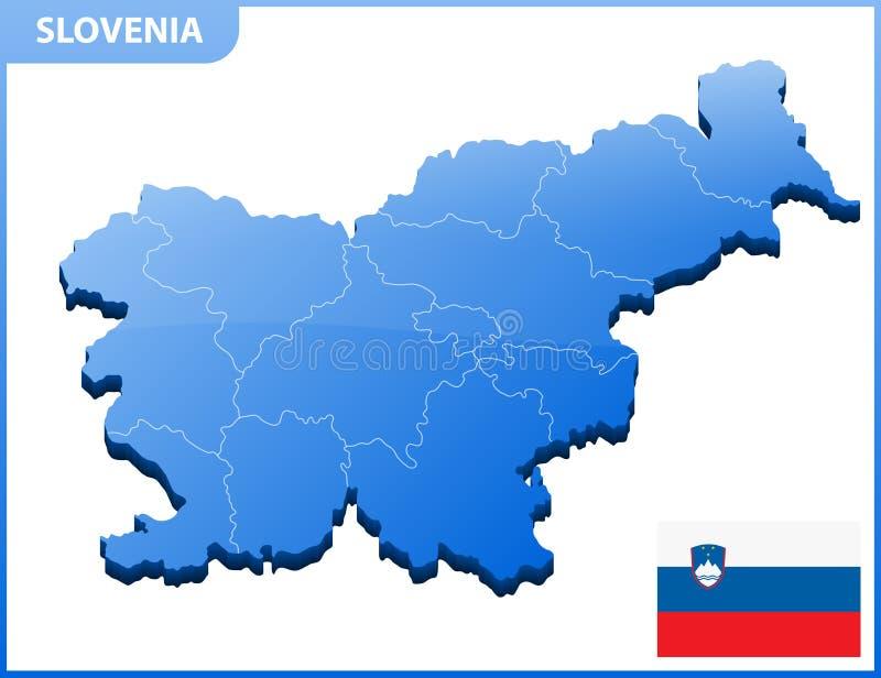 Carte tridimensionnelle fortement détaillée de la Slovénie avec la frontière de régions illustration stock