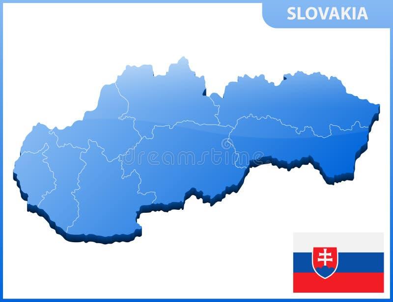 Carte tridimensionnelle fortement détaillée de la Slovaquie avec la frontière de régions illustration libre de droits