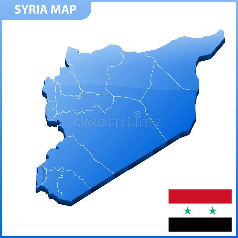 Carte tridimensionnelle fortement détaillée de la Syrie Division administrative illustration stock