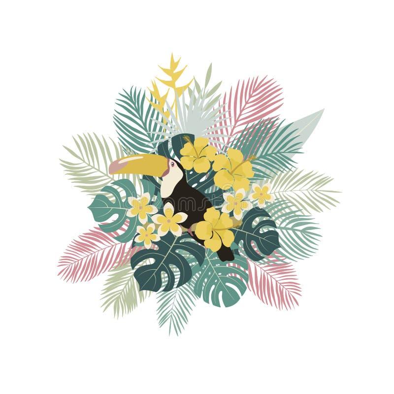 Carte tropicale Toucan, palmettes, plantes tropicales, fleurs Illustration de vecteur photo stock