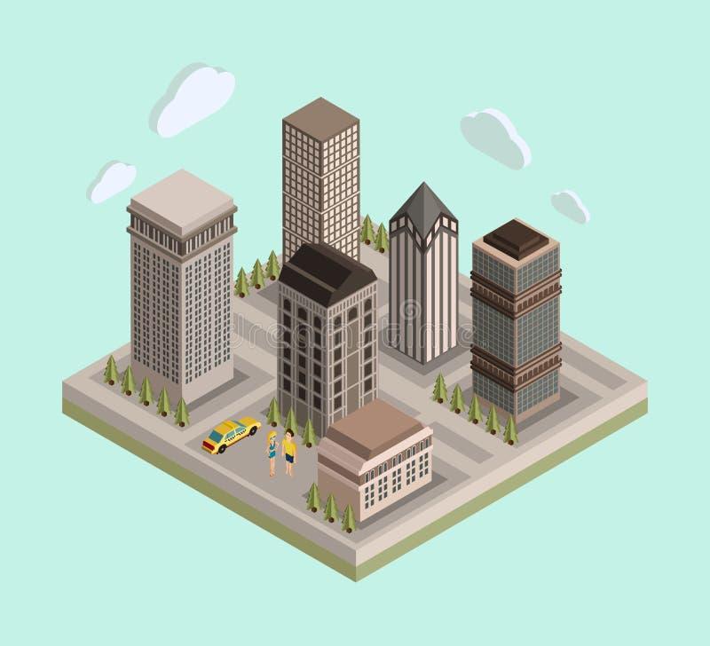 Carte urbaine isométrique de centre de la ville 3d/vrai plats illustration de vecteur
