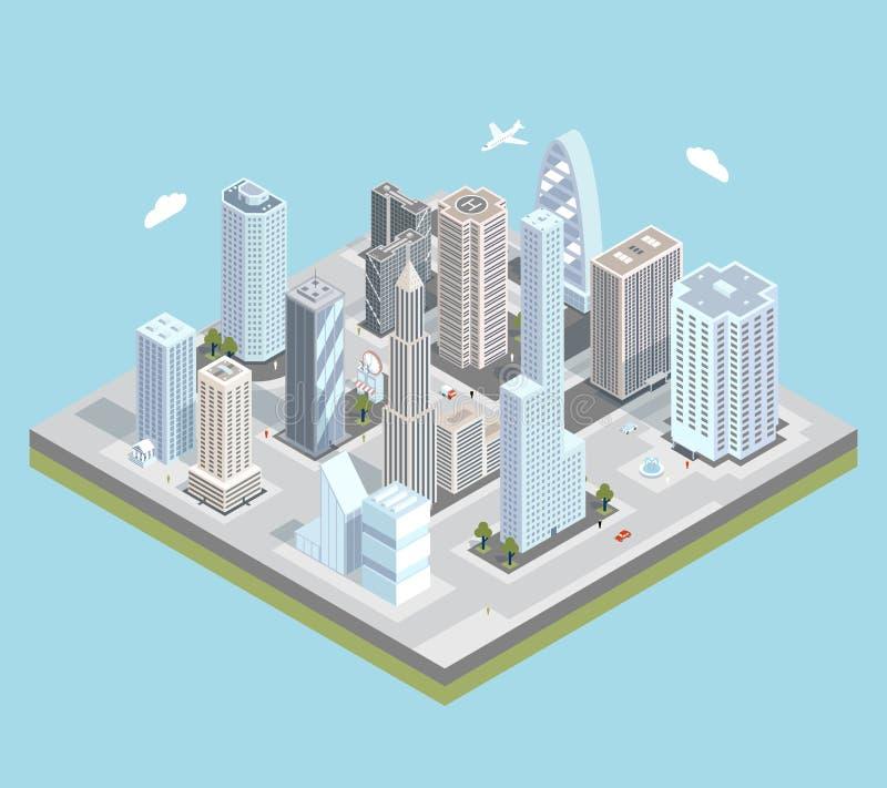 Carte urbaine isométrique de centre de la ville de vecteur avec illustration de vecteur
