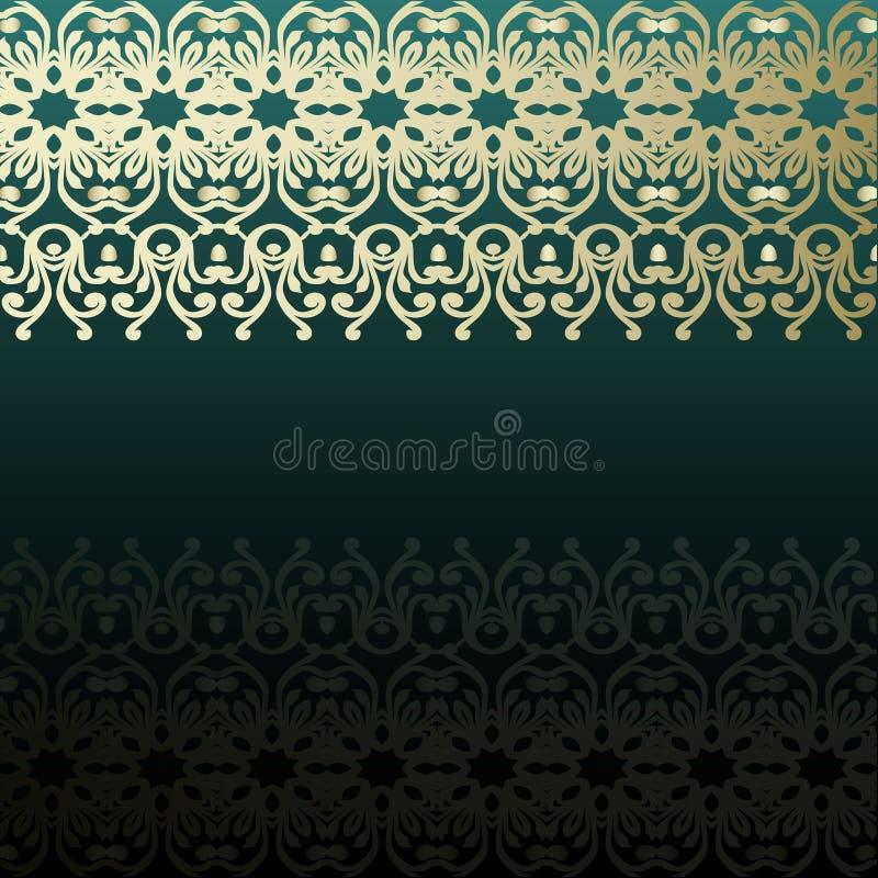 Carte vert-foncé d'invitation avec le modèle et le blanc abstraits Horiz image stock