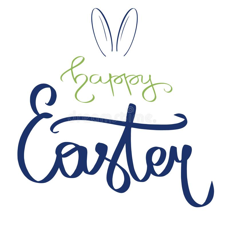 Carte verte bleu-foncé tirée par la main avec le signe heureux doux de Pâques, oreilles de lapin Illustration d'oreilles de Ranni illustration de vecteur