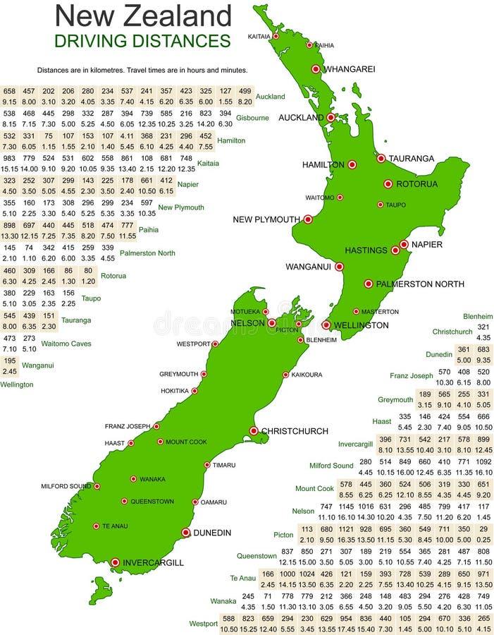 Carte verte de vecteur de la Nouvelle Zélande - piloter des distances illustration de vecteur