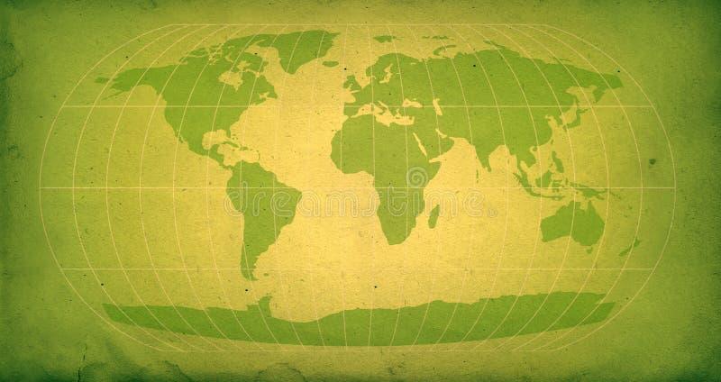Carte verte du monde de cru illustration libre de droits