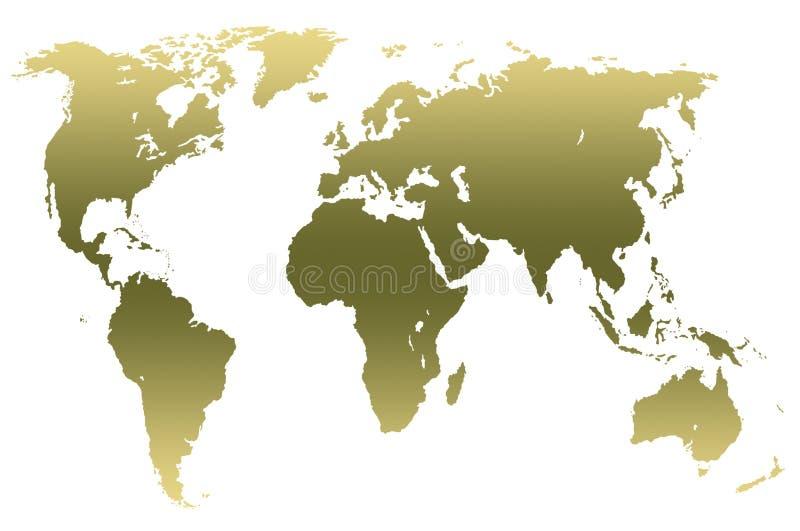 Carte verte kaki du monde de gradient, d'isolement illustration libre de droits
