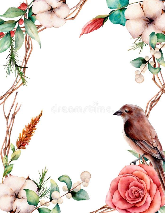 Carte verticale d'aquarelle avec l'oiseau et les fleurs Frontière, coton, branche, dahlia, baies et feuilles peints à la main d'a illustration stock