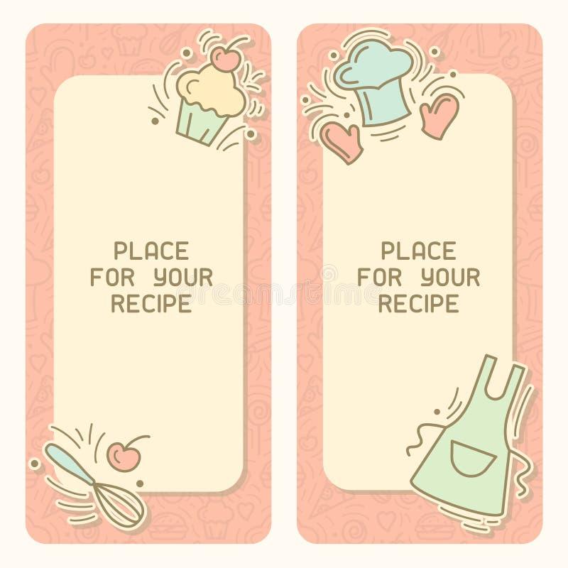 Carte verticale de recette culinaire avec l'endroit de décor et de textes de cru illustration libre de droits