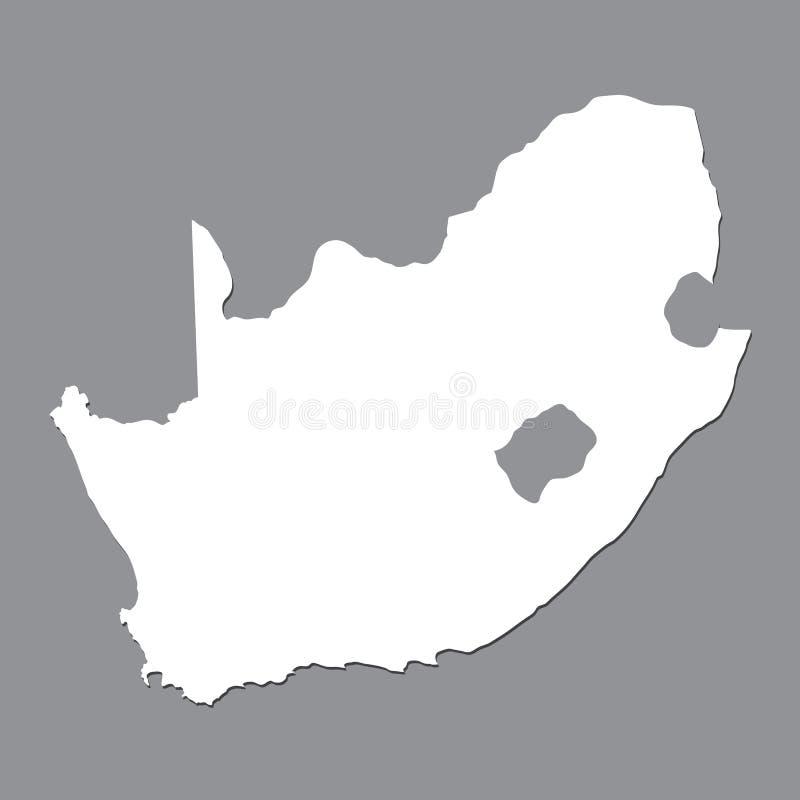 Carte vide Afrique du Sud Carte de haute qualité de l'Afrique du Sud sur le fond gris illustration de vecteur