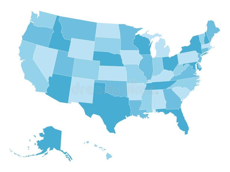 Carte vide de vecteur des Etats-Unis à quatre nuances de bleu illustration libre de droits