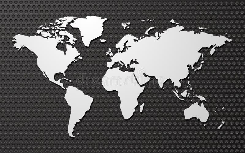 Carte vide simple de vecteur du monde sur le fond en métal illustration libre de droits