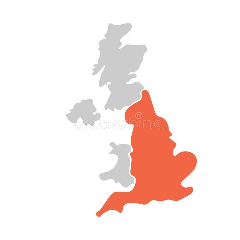 Carte vide tirée par la main simplifiée du Royaume-Uni de Grande-Bretagne et d'Irlande du Nord, R-U Divisé à quatre pays illustration libre de droits