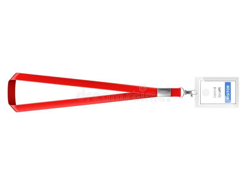 Carte vierge d'identification de plastique avec la lanière rouge photos stock