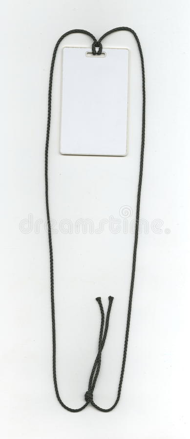 Carte vierge d'identité, carte principale, insigne sur une corde noire photographie stock libre de droits