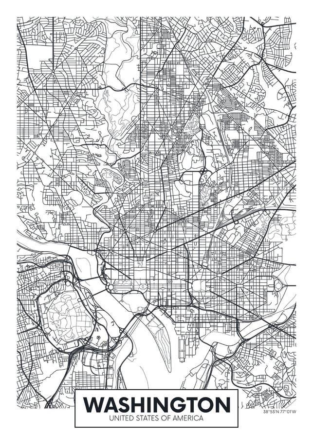 Carte Washington, conception de ville d'affiche de vecteur de voyage illustration stock