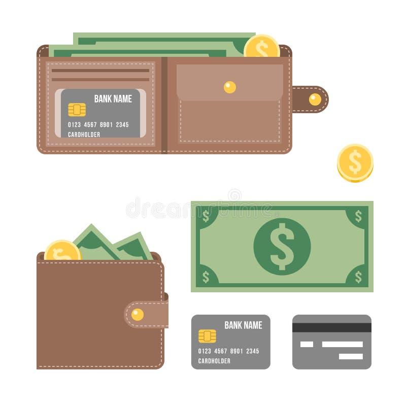 Carteira, banco do dólar, moeda de um centavo e ilustração do cartão de crédito ilustração do vetor