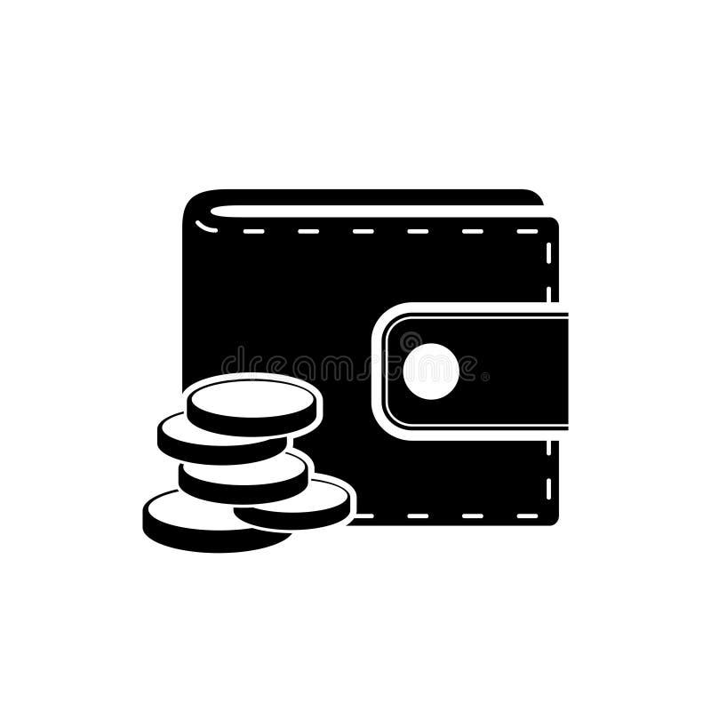 Carteira com ícone das moedas ilustração stock