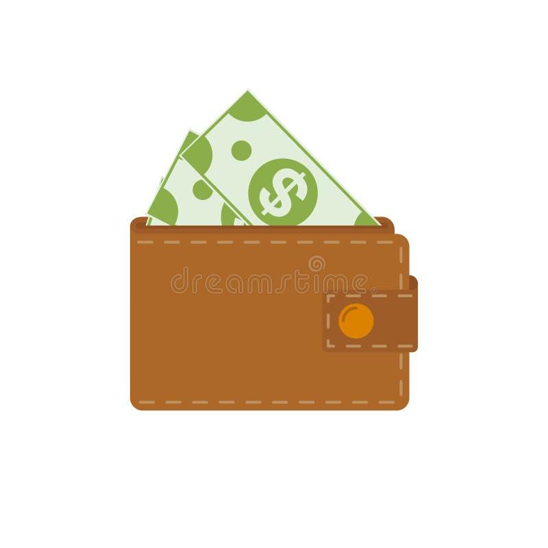 Carteira com ícone dos dólares Estilo liso do projeto em um fundo branco ilustração stock