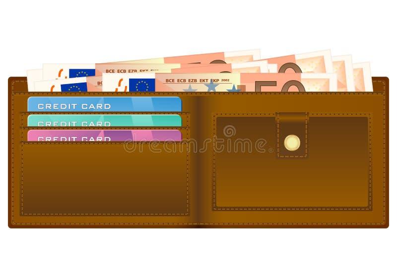 Carteira com a cédula do euro cinqüênta ilustração do vetor