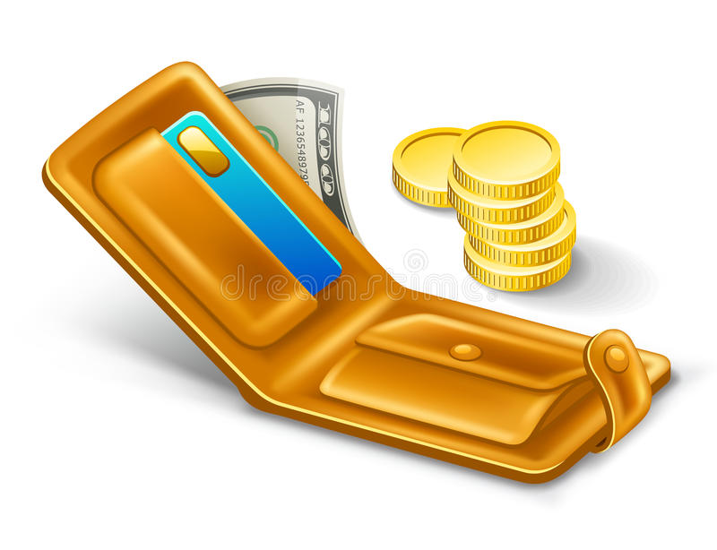 Carteira com dólar e moedas. ilustração stock