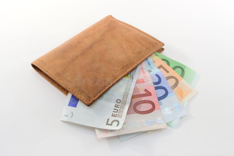 Carteira com euro- notas de banco foto de stock