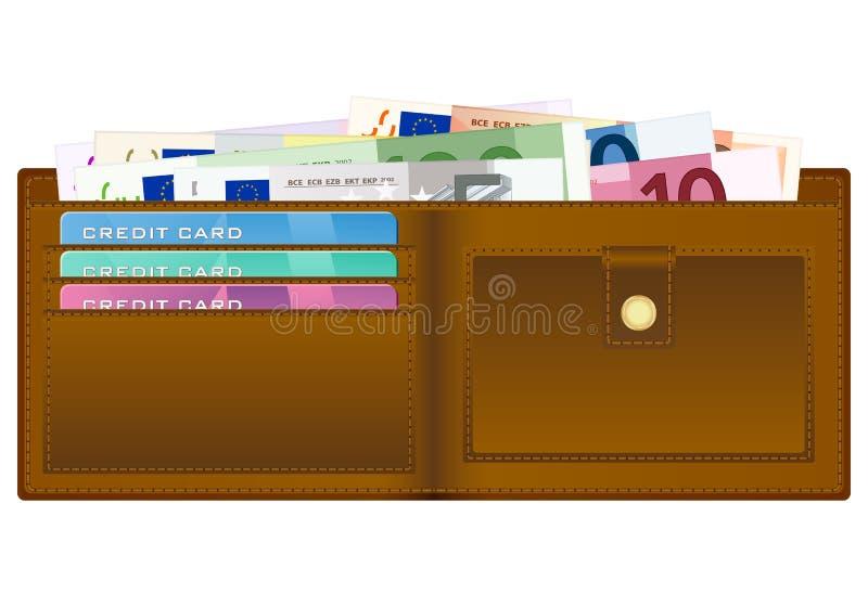 Carteira com euro- notas de banco ilustração do vetor