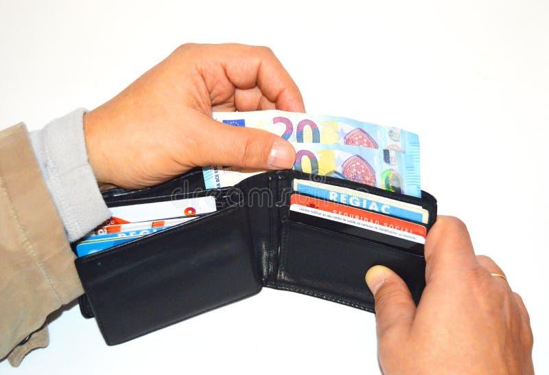 Carteira com os cartões do dinheiro e de crédito, capital fotos de stock royalty free