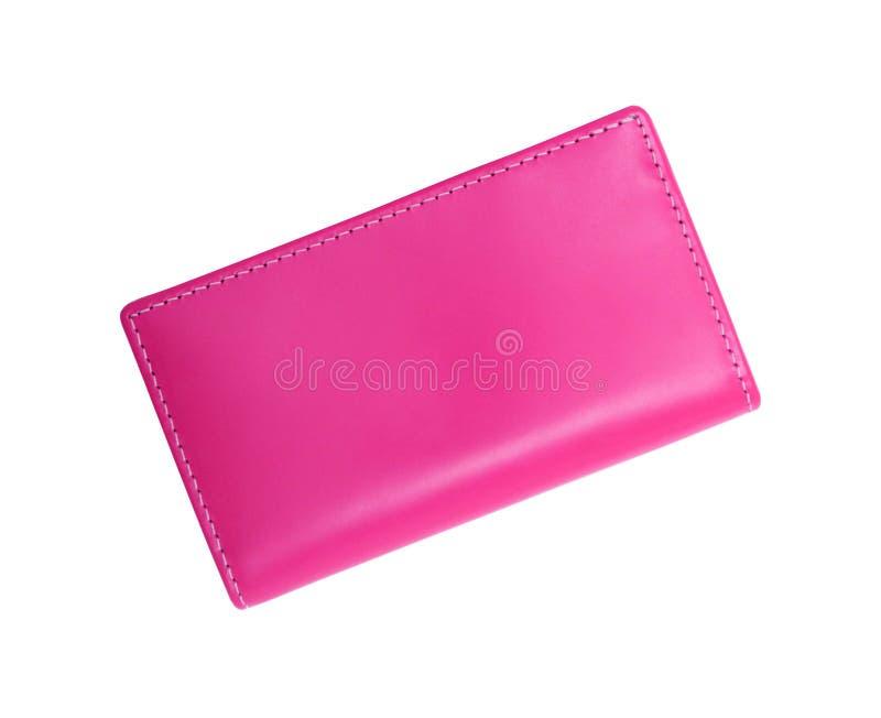 Carteira cor-de-rosa isolada no branco fotografia de stock royalty free