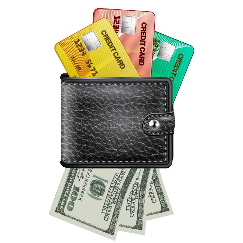 Carteira de couro com cartões de crédito e dólares dos EUA ilustração do vetor
